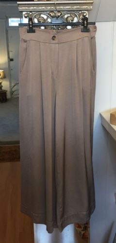 Italian Plain Wide Leg Silk Trousers - Mocha